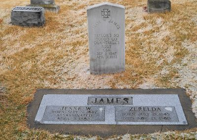 Photo of Jesse and Zerelda James gravestone monument